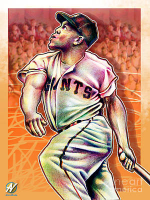 Willie Mays Painting - Willie Mays by Al Vesselli