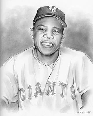Hero Drawing - Willie Mays by Greg Joens