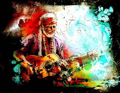 Painting - Willie Nelson 01 Madness by Miki De Goodaboom