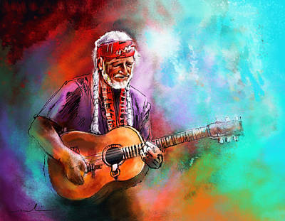 Willie Painting - Willie Nelson 01 by Miki De Goodaboom
