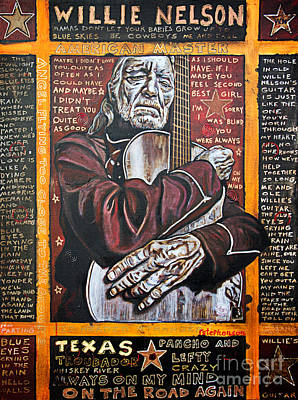 Willie Nelson Art Print by Bob Hislop