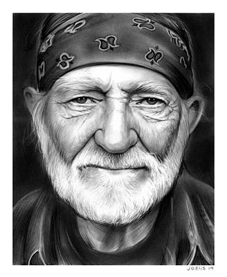 Country Drawing - Willie Nelson by Greg Joens