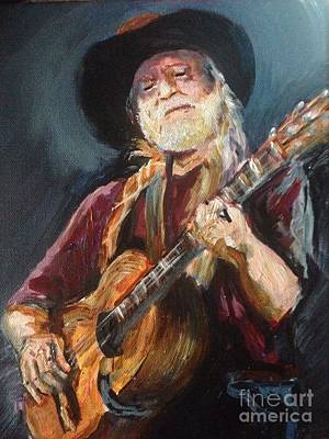 Painting - Willie Nelson by Karen  Ferrand Carroll
