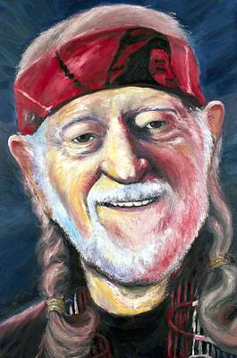Willie Nelson On The Road Again Art Print by Mike Underwood