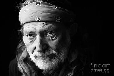 Nashville Digital Art - Willie Nelson by Paul Tagliamonte