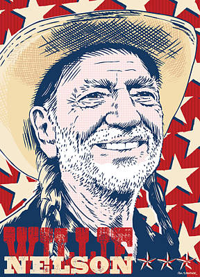 Highwaymen Digital Art - Willie Nelson Pop Art by Jim Zahniser
