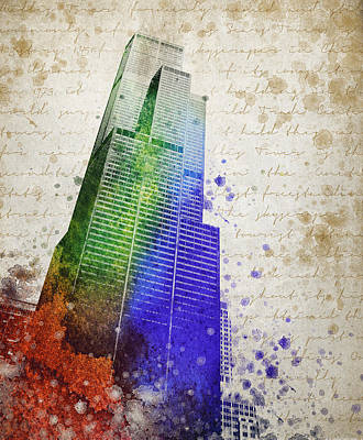 Sears Tower Mixed Media - Willis Tower by Aged Pixel