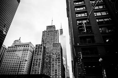 Photograph - Willis Tower In The Clouds - Black And White by Anthony Doudt