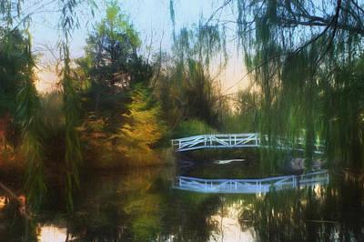 Weeping Digital Art - Willow Bridge by Lori Deiter