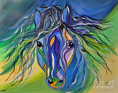 Art Print featuring the painting Willow The War Horse by Janice Rae Pariza