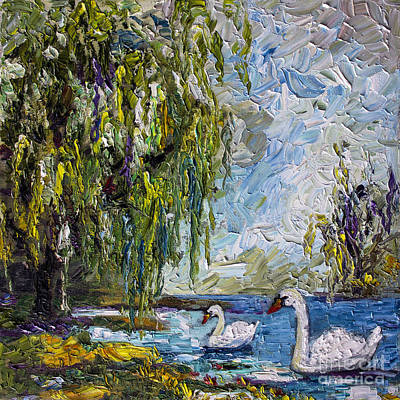 Painting - Willow Tree And Swan Lake Oil Painting by Ginette Callaway