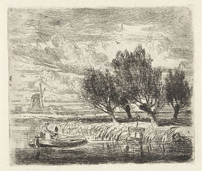 Willow Drawing - Willows At The Waterside, Augustinus Jacobus Bernardus by Augustinus Jacobus Bernardus Wouters