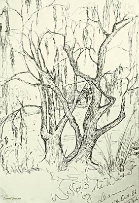 Drawing - Willows By The Lake by Leanne Seymour