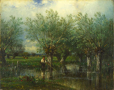 Painting - Willows With A Man Fishing by Jules Dupre