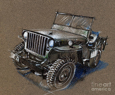 Jeep Drawing - Willys Car Drawing by Daliana Pacuraru