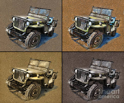 Jeep Drawing - Willys Jeep Mb Car Drawing by Daliana Pacuraru