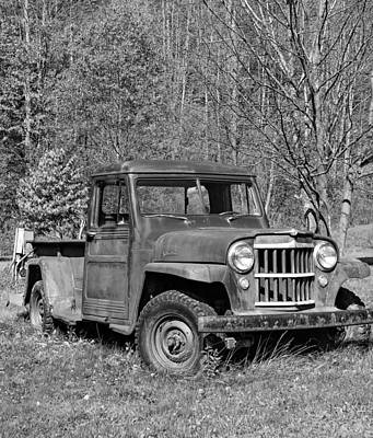Autumn Photograph - Willys Jeep Pickup Truck Monochrome by Steve Harrington