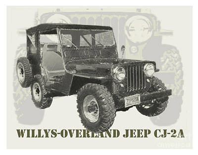 Spare Tire Digital Art - Willys-overland Jeep Cj-2a 1947 by Dan Knowler