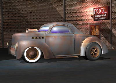 Rat Rod Digital Art - Willys Street Rod by Stuart Swartz