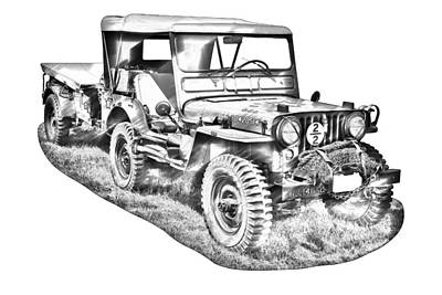 Photograph - Willys World War Two Army Jeep Illustration by Keith Webber Jr