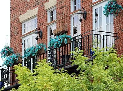 Blue Flowers On A Balcony  Art Print