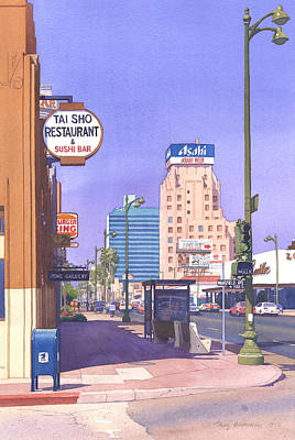 Street Lights Painting - Wilshire Blvd At Mansfield by Mary Helmreich