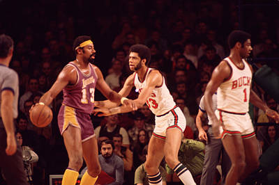 Wilt Chamberlain Guarded By Kareem Abdul Jabbar Print by Retro Images Archive