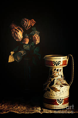 Photograph - Wilted Roses With Italian Vase by Silvia Ganora