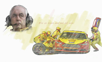 Roger Penske Digital Art - Win As A Team And We All Win by Roger Lighterness