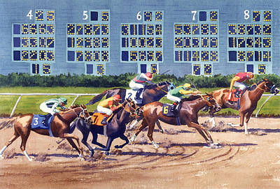 Horse Racing Painting - Win Place Show At Del Mar by Mary Helmreich