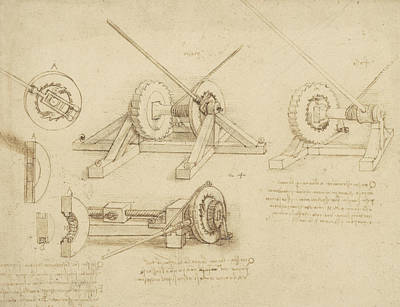 Ink Drawing - Winch Great Spring Catapult And Ladder From Atlantic Codex by Leonardo Da Vinci