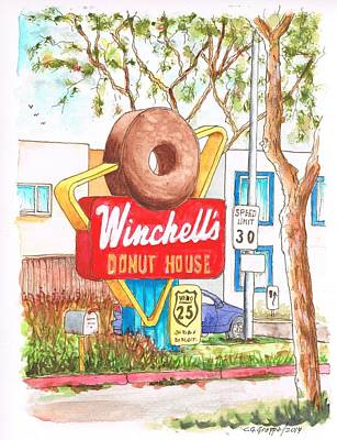 Winchells Donut House Vintage Sigh In Santa Monica Blvd - Los Angeles - California Original by Carlos G Groppa