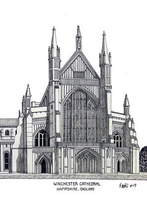 Mixed Media - Winchester Cathedral by Frederic Kohli