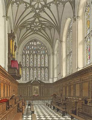 Gothic Drawing - Winchester College Chapel, From History by Frederick Mackenzie