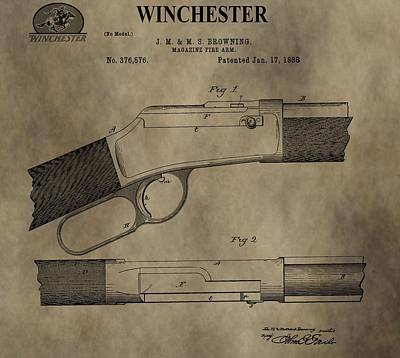 Gunfight Digital Art - Winchester Firearm Patent by Dan Sproul