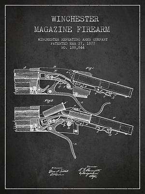 Winchester Firearm Patent Drawing From 1877 - Dark Art Print by Aged Pixel