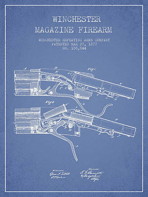 Winchester Firearm Patent Drawing From 1877 - Light Blue Art Print