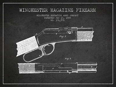 Winchester Firearm Patent Drawing From 1888- Dark Art Print by Aged Pixel