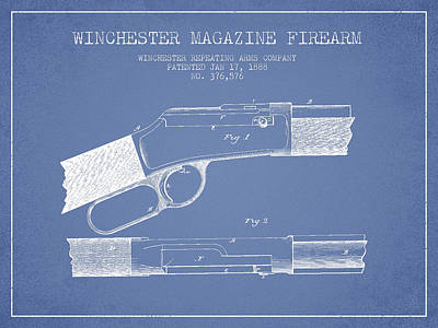 Winchester Firearm Patent Drawing From 1888- Light Blue Art Print