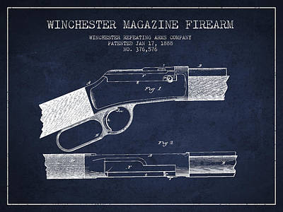 Winchester Firearm Patent Drawing From 1888- Navy Blue Art Print by Aged Pixel