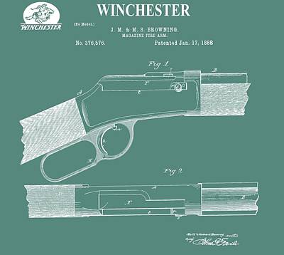 Gunfight Digital Art - Winchester Gun Patent by Dan Sproul