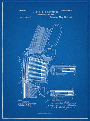 Winchester Magazine Firearm Patent Art Print by Decorative Arts