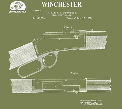Gunfight Digital Art - Winchester Patent by Dan Sproul