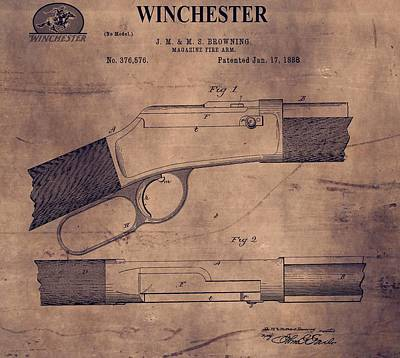 American West Mixed Media - Winchester Rifle Patent by Dan Sproul