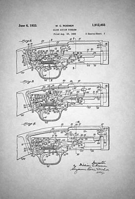 Winchester Slide Action Firearm Patent 1933 Art Print