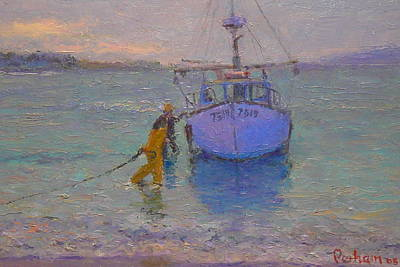 Sunset Painting - Winching In. Days End by Terry Perham