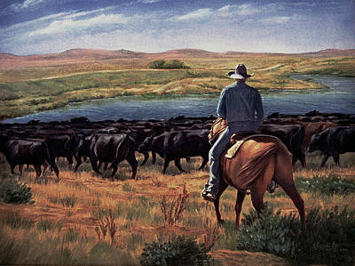 Cattle Roundup Painting - Wind Creek by Artist Karen Barton