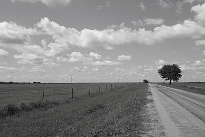 Photograph - Wind Farm On The Prairie Black And White by Ann Powell