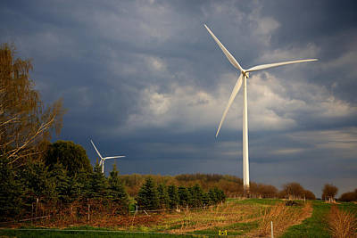 Photograph - Wind Generator Against Clouded Sky Mason County Michigan by Mary Lee Dereske