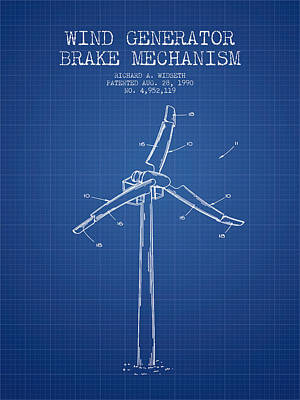 Wind Generator Break Mechanism Patent From 1990 - Blueprint Art Print by Aged Pixel
